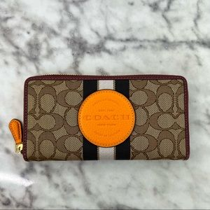Dempsey Accordion Zip Wallet In Signature Jacquard With Stripe And Coach Patch